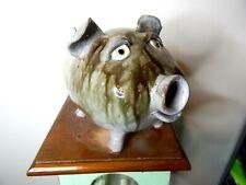 dal burtchaell face jug, pottery, folk art   ( pig bank 11''long x 7''wide   )