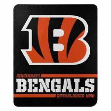 """New Cincinnati Bengals Nfl Split Wide Fleece Throw Blanket Large Size 50""""x60"""""""