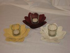 Flower Tealight/Votive Holder, 3 w/a Glass Candle Holders, yellow,white,Maroon