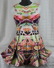 Abstract Print Woman Dress Sz Lg Party Club Birds Kaleidoscope Colors Sleeveless