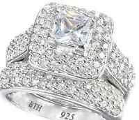 Princess Cut Halo 2 piece 925 Silver Luxury Wedding Engagement Bridal Ring Set