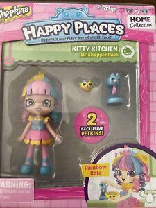 Rainbow Kate Kitty Kitchen Lil' Shoppie Happy Places Shopkins Doll & 2 Petkins
