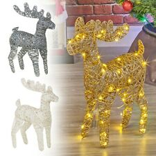 LED Light Up Reindeer 45cm Plastic Rattan Wire Frame Christmas Home Decorations
