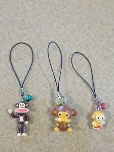 Lot 3 Sanrio Paul Frank Julius Monkey Monkichi Figure Cell Phone Charm Keychain