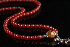 81 6mm Red Agate with Pandora Glass Beads Prayer Bracelet 21""