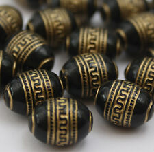 20 x Black Gold Metal Enlaced Jewellery Making Beads 9 x 13mm