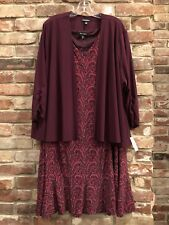 NWT Womens Plus 24W Dressbarn Purple Paisley Jacket Dress Knit Formal Wedding
