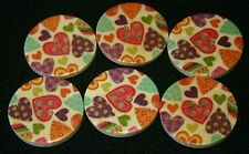 6 Multi Colour Heart Hand Painted Wooden Buttons - Sewing, Craft, Scrapbooking