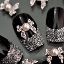 10 X 3D Silver Alloy/Faux Pearl/Clear Rhinestone Nail Art Bows  FREE P&P (E3)