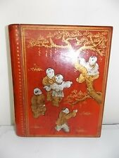 BOX SHAPED LIKE BOOK-JAPAN LACQUER WARE-COVERED W POEMS & STORIES-KIDS PLAYING