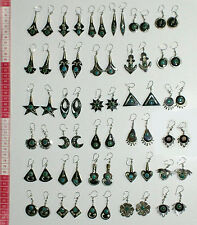 Lot 7 Pairs Small Dangle Bull Horn Carved Earrings Handcrafted Peruvian Jewelry