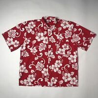 hinano tahiti Hawaiian Button Up shirt Mens Xxl red floral short sleeve