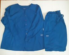Butter Soft Scrubs 2 Piece Set Long Sleeve Top & Bottoms 2Xl Blue
