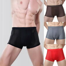 Summer Men Boxer Trunks Breathable Mesh Pore Underwear 3D Pouch Thin Cool Briefs