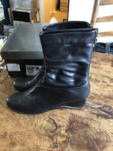 Aquatalia Ladies Black Leather Boots Size 6 Rrp £195