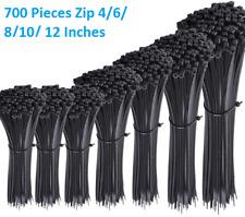 700 Pack Nylon Cable Zip Ties Assorted Size Heavy Duty Flexible Self Lock Black