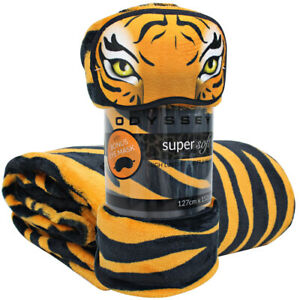 Tiger Animal Print Throw Blanket + BONUS Eye Mask | Printed Throw Rug Blanket