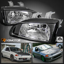92-95 Honda Civic EG EJ JDM Black Replacement Headlights Head Lamps Left+Right
