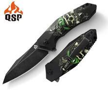 QSP Outdoor Ghost Knife Black Skull G10 Handle 440C Plain Black SW Edge QS104-B