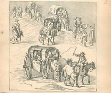 Convoi de Chariots Transport Campagne France Style Louis XIII GRAVURE PRINT 1875
