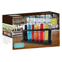 TEST TUBE GLASS SHOOTERS AND WOOD RACK SET OF 6 SHOT GLASSES BAR PARTY MIXOLOGY