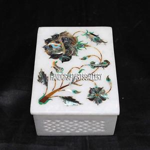 "4""x3""x2"" Filigree Inlay Marble Jewelry Box Mosaic Pauashell Christmas eve H3208"