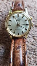 RARE VINTAGE VULCAIN ALARM WRIST WATCH  GOLD PLATED WITH TANDEM WIND