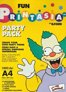 PRINTASIA SIMPSONS PARTY PACK By Ilford - Cards, Place Mats, Badges, Signs - NEW