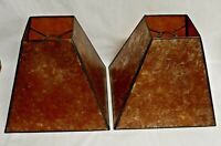 Vintage Pair 2  Amber Craftsman Style Mica Lamp Shades  4 Panel