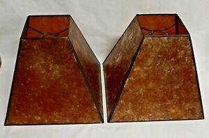 Vintage Pair 2  Amber Craftsman Style Mica Lamp Shades  4 Panel