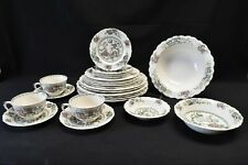 Crown Ducal Chinese Garden Partial Set Plates Bowls Cups Saucers - 25 Pieces