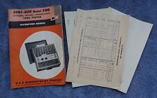 B&K DYNA-QUIK  700 DYNAMIC MUTUAL CONDUCTANCE TUBE TESTER INSTRUCTION MANUAL