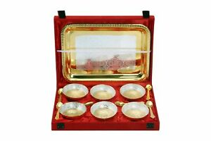 13 Piece Brass Golden & Silver Plated Serving Bowl Spoon &Tray Diwali Decoration