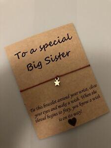 🌟Special Big Sister friendship Wish Star Charm bracelet Gift Present🌟