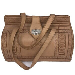 Handmade Tooled Satchel Purse Brown Leather Camel Lightweight