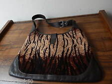 WOMEN'S BROWN/BLACK GENUINE LEATHER/FUR TANNER HANDBAG MADE IN ITALY INTNL SALE