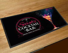 PERSONALIZZATO CON QUALSIASI NOME ROSA ETICHETTA cocktail vetro Bar mat MAZZE