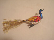 Vintage....Mercury Glass....Peacock Bird / Gold Tinsel.....Ornament