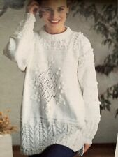 LS019 KNITTING PATTERN LADIES TUNIC WITH CABLES AND LEAVES SIZE 30 - 40 DK YARN