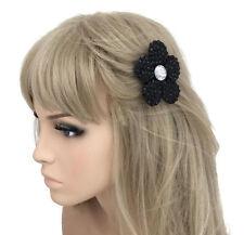 Nero Sfaccettato Perlina Grip becco per capelli Per capelli Grip Flower Design con diamante