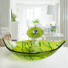 Green Leaves Bathroom Tempered Glass Vessel Basin Sink with Chrome Faucet Set