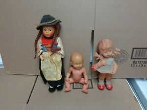 VINTAGE  RUBBER/SCHILDKROT TURTLE MARK  AND BAITZ GERMAN DOLL LOT OF 3 ATTIC
