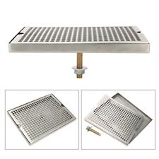 """Us Ship- Stainless Steel 12"""" x 9"""" Surface Mount Beer Drip Tray with Drain"""