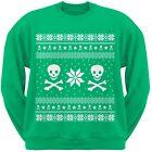Skull & Crossbones Ugly Christmas Sweater Green Adult Men's Crew Neck Sweatshirt