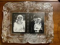 "Mikasa Lead Crystal Double Picture Frame 11"" x 9 1/2"" for 3"" by 4 1/4"" pictures"