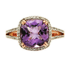 14K ROSE GOLD PAVE DIAMOND CUSHION PINK AMETHYST COCKTAIL ENGAGEMENT HALO RING