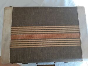 Vintage tweed suitcase with coral stripes 18 x 12 1/2 x 6 1/4