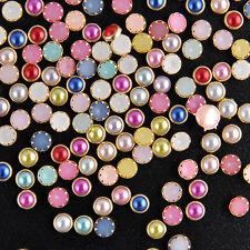 200Pcs DIY 3D Nail Art Alloy Decor Bling Rhinestone Pearl Charm Glitter Tips 4mm