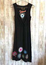 Desigual Black V Neck Sleeveless Knit Floral Print Dress * M Medium 38 * RARE!