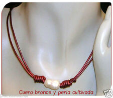 COLLAR de PERLA Cultivada 11 mm Y Cuero Bronce natural. Corredero y adaptable